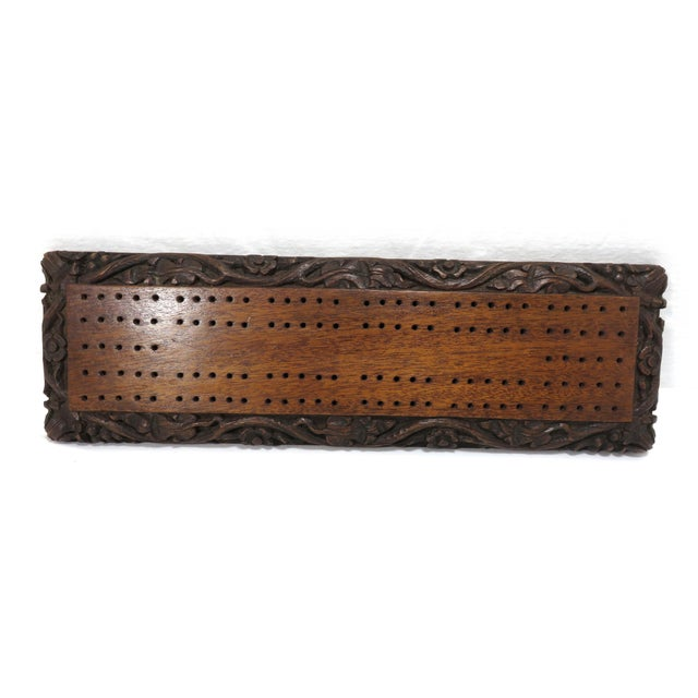 1900s Antique Carved Mahogany Cribbage Game Board For Sale - Image 5 of 13