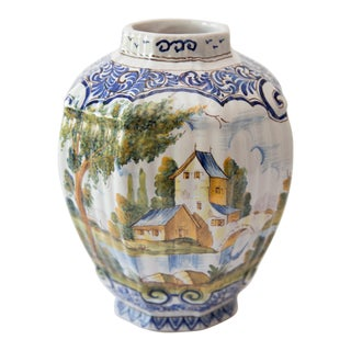 Antique 19th-Century Delft Faience Vase For Sale