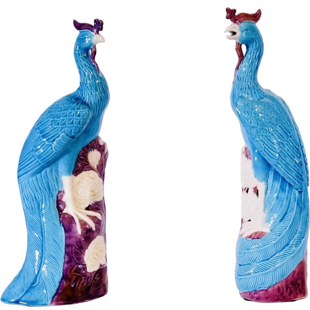 Chinese Turquoise and Manganese Glazed Chinese Porcelain Ho-Ho Birds- a Pair For Sale - Image 3 of 13