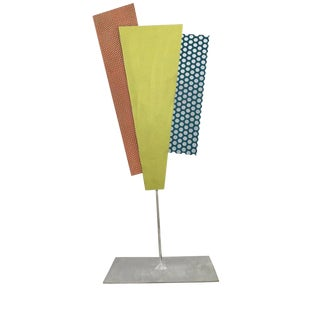 1980s Modern Geometric Metal Sculpture For Sale