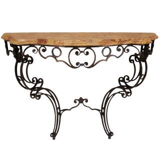 French Wrought Iron Console With Marble Top For Sale