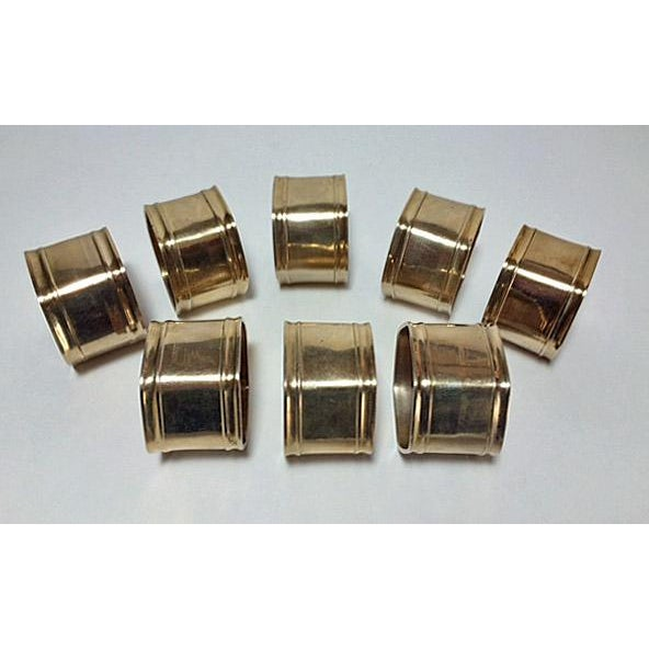 Vintage Brass Hexagon Napkin Rings - Set of 8 For Sale - Image 4 of 5