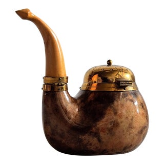 1940 Aldo Tura Goat Skin and Brass Tobacco Container For Sale