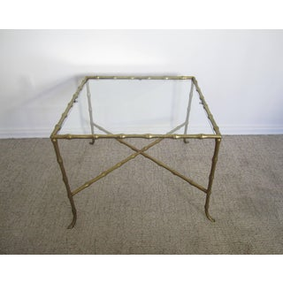 Midcentury Brass 'Bamboo' and Glass Side or End Table Preview