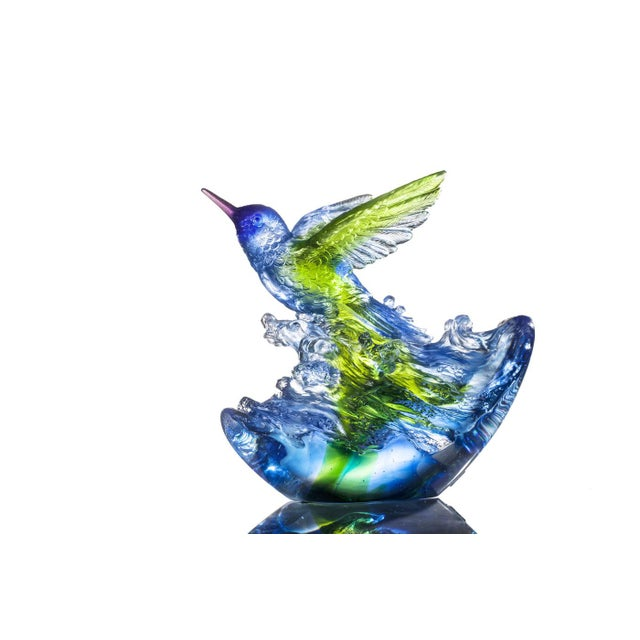 """LIULI Crystal Art Liuli Crystal Art Crystal Hummingbird, """"Victory by Daybreak"""" Sculpture (Limited Edition) For Sale - Image 4 of 8"""