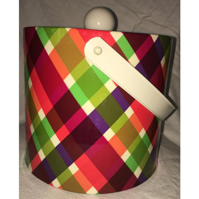 Vintage Plaid Retro Ice Bucket For Sale - Image 4 of 8