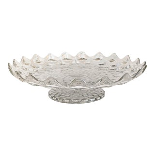 Late 20th Century Large Clear Faceted Glass Pedestal Platter For Sale