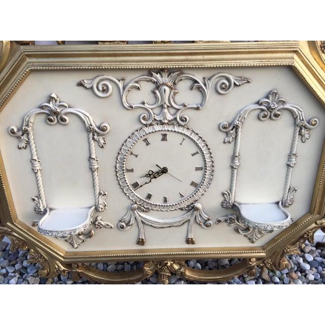 Hollywood Regency Very Large Gold Gilt Framed Clock With Shelves - Image 4 of 7