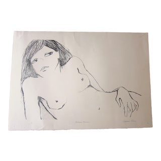 """1970s Vintage Suzanne Peters """"Reclining Woman"""" Signed Nude Woman Figural Study Boho Chic Stone Lithograph For Sale"""