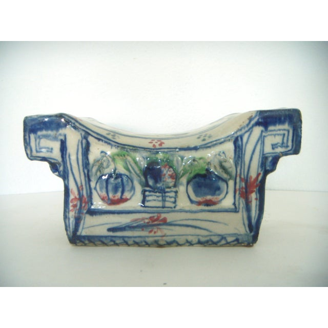Rustic, blue-and-white porcelain antique Chinese opium pillow or head rest - as used in days gone by on Chinese style...