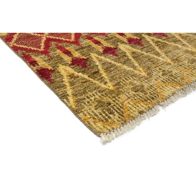 """New Moroccan Hand Knotted Area Rug - 4' x 5'10"""" - Image 2 of 3"""