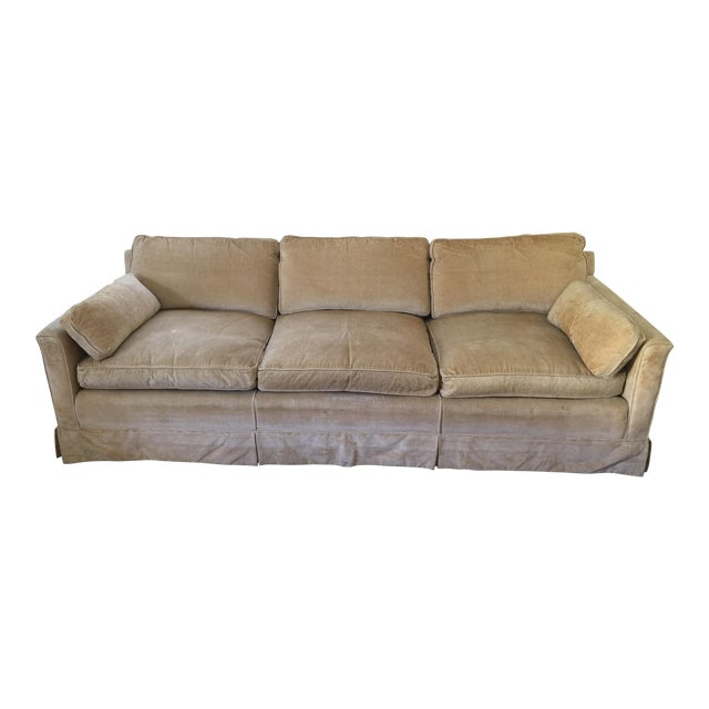 1960s Mid-Century Modern Hog and Horse Mane Hair Sofa Couch With Down Cushions With Floral Slipcover For Sale