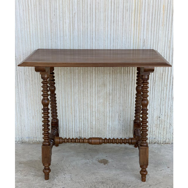 Brown Spanish Baroque Side Table With Wood Stretcher and Carved Top in Walnut For Sale - Image 8 of 13