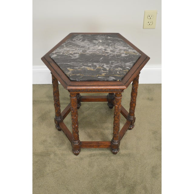Antique Italian Carved Walnut Hexagon Marble Top Taboret Side Table For Sale - Image 9 of 13