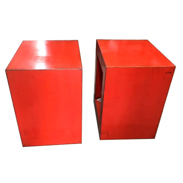 Red-Orange Contemporary Open Side Table For Sale - Image 5 of 6