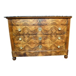 Antique French 19th Century Walnut Matched Grain Charles X Chest of Drawers