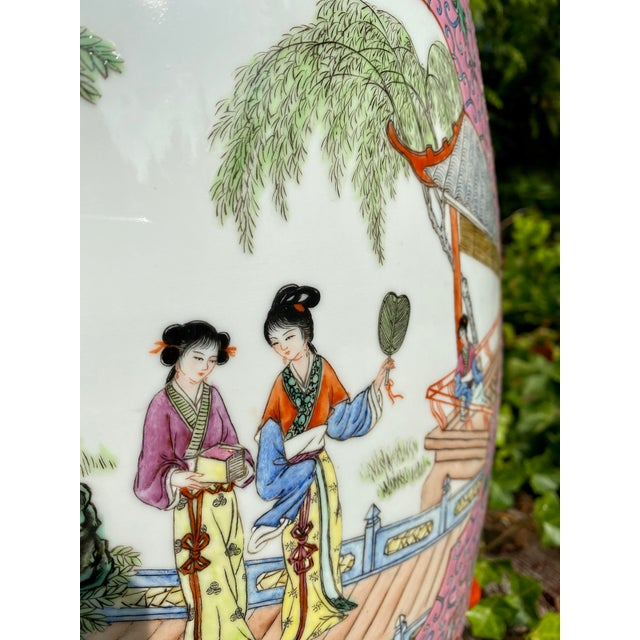 Vintage Mid-Century Chinese Famille Rose Porcelain Garden Seat For Sale In Seattle - Image 6 of 13