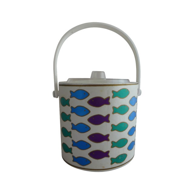 Mid-Century Ice Bucket With Colorful Fish - Image 1 of 8