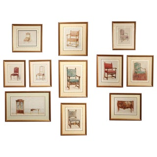 Series of Hand-Painted Drawings of Furniture For Sale
