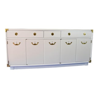 Drexel White Lacquered Campaign Sideboard / Buffet
