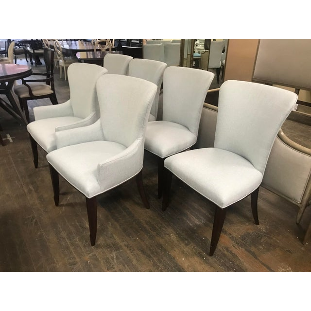 Henredon Furniture Barbara Barry Bowmont Light Blue Dining Chairs- 6 Pieces For Sale - Image 11 of 11