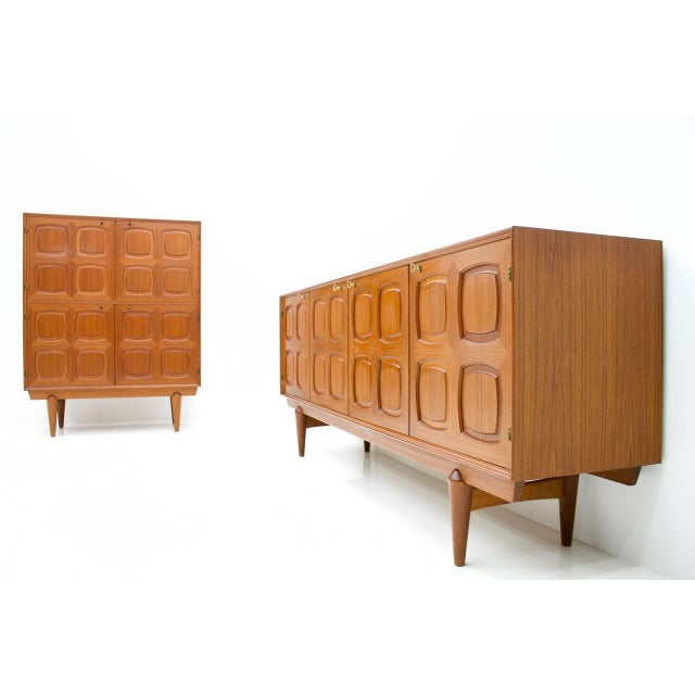 Gold Graphic Teak Sideboard by Rastad & Relling for Bahus Norway 1960s For Sale - Image 8 of 9