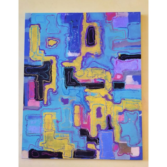 R. Schnider Electric Abstract Microchip Painting For Sale - Image 4 of 6