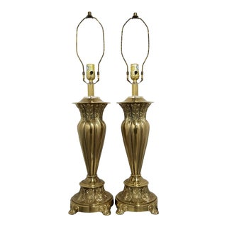 Vintage Neoclassical Acanthus Leaves Fluted Tapered Table Lamps-A Pair For Sale