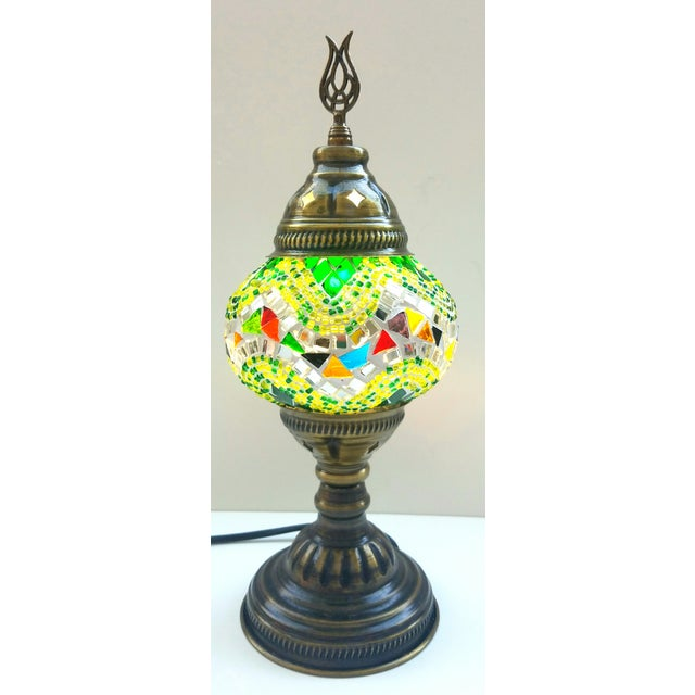 Turkish Handmade Green Mosaic Lamp - Image 2 of 3