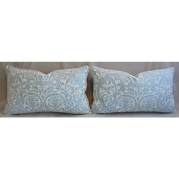 "Belgian 26"" X 16"" Custom Tailored Italian Fortuny Uccelli Feather/Down Pillows - a Pair For Sale - Image 3 of 11"