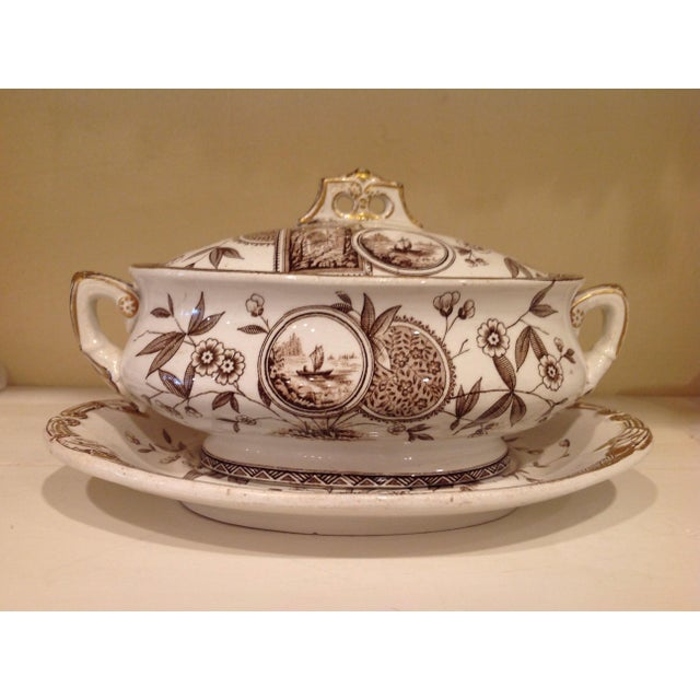 Brown English Aesthetic Movement Oval Casserole With Stand For Sale - Image 8 of 8