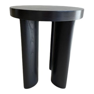 Contemporary Ebonized Ash Wood Stool/Side Table For Sale