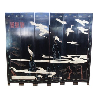 Mid 20th Century Chinese Black Lacquer 6 Panel Coromandel Folding Screen Room Divider Cranes Gods For Sale