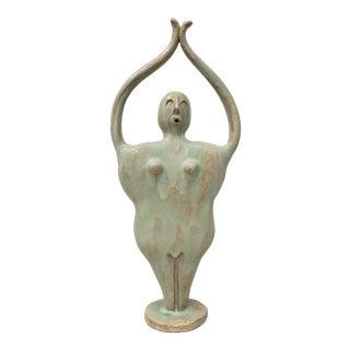 "Whimsical ""Upward Salute"" Glazed Ceramic Sculpture C.2010 For Sale"