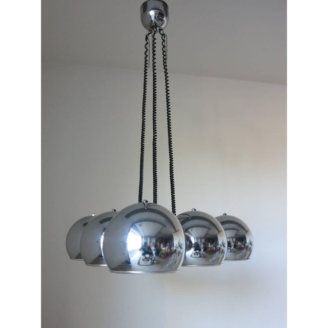 Vintage Italian pendant with six chrome globes mounted in a triangular shape / Designed by Gino Sarfatti circa 1970's /...