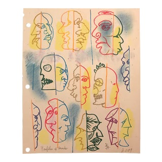 """Modern """"Profiles of Heads"""" Drawing by James Bone Masque For Sale"""