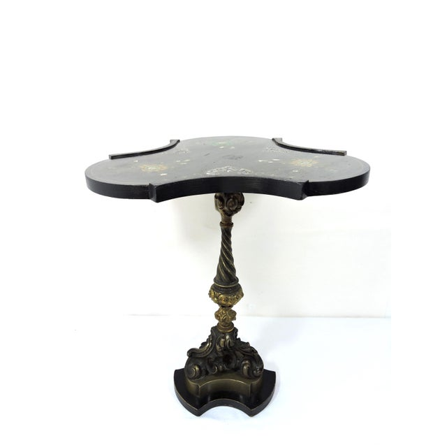 Belle Epoque Antique Victorian Black Side Table With Brass Ormolu Column & Mother of Pearl Inlay Top For Sale - Image 3 of 9