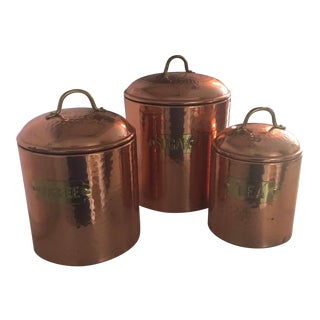 Vintage Copper Sugar Tea and Coffee Kitchen Containers - Set of 3 For Sale