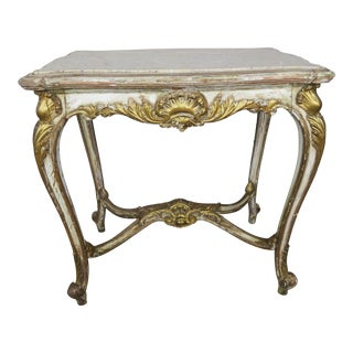 19th C. French Painted & Parcel Gilt Marble Top Table For Sale
