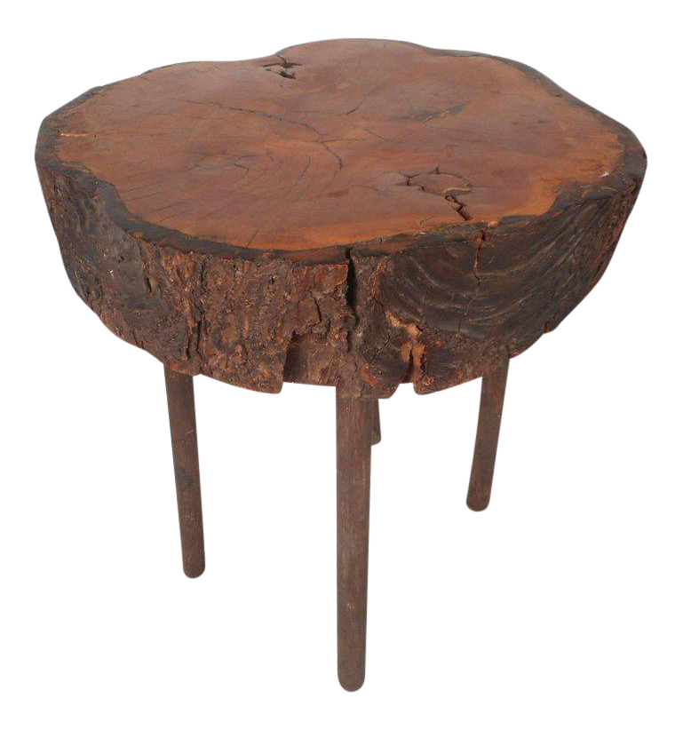 Superieur Vintage Modern Round Tree Slab End Table