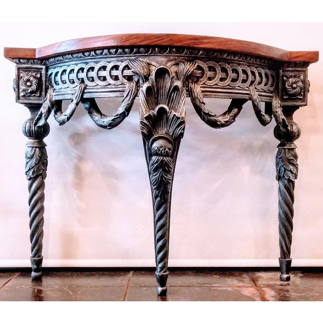 Baroque style pier table base from Italy was manufactured in the 1990s for the interior design market. Our woodshop added...