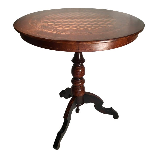 19th Century Italian Marquetry Pedestal Center Table For Sale