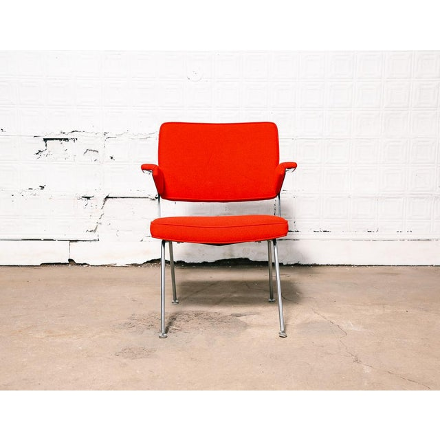 Amazing lounge chair designed by the iconic Dutch designer A.R. Cordemeijer. Vintage red wool fabric and black leather...
