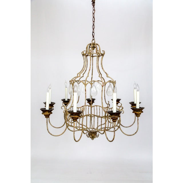 Belle Epoque Style Tan Painted Birdcage Chandelier With Rock Crystals For Sale - Image 13 of 13
