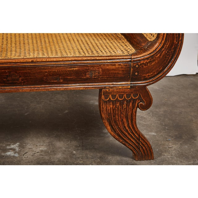 Indonesian Mahogany Settee with Carved Rattan/Wicker Back and Seat - Image 6 of 9