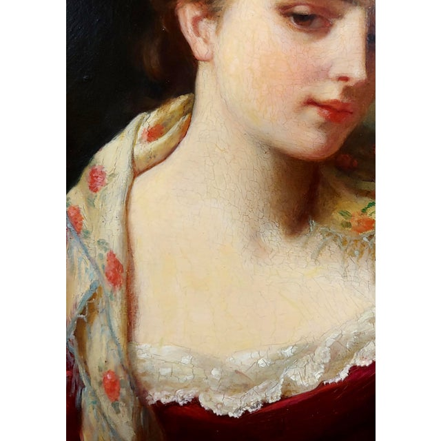 """19th Century Gustave Jean Jacquet """"Portrait of an Elegant Young Lady"""" Oil Painting For Sale In Los Angeles - Image 6 of 11"""