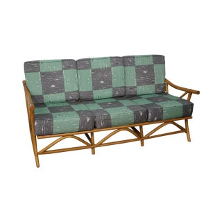 Mid-Century Rattan Frame Sofa For Sale
