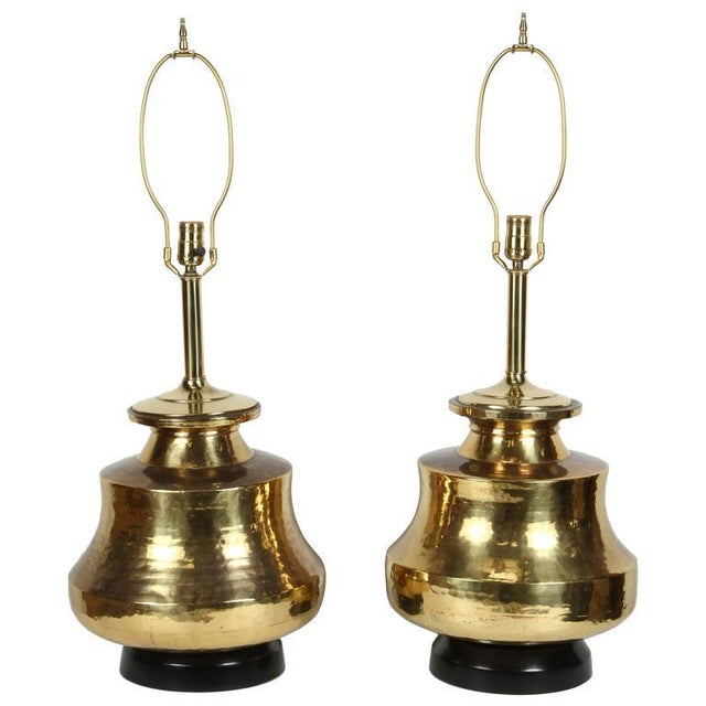Pair of Polished Moroccan Brass Table Lamps For Sale - Image 9 of 9
