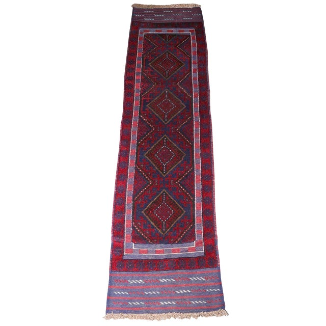 Vintage Mid-Century Hand-Knotted Baluch Runner Rug - 2′1″ × 8′2″ For Sale