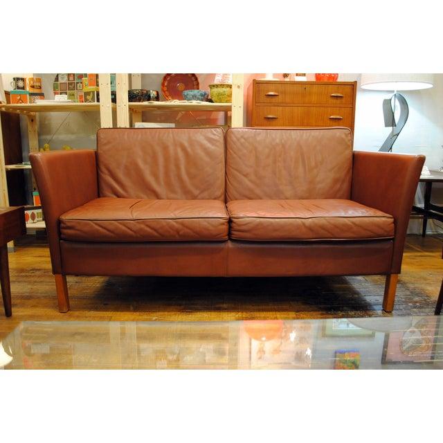 Danish Modern Leather Love Seat - Image 6 of 6